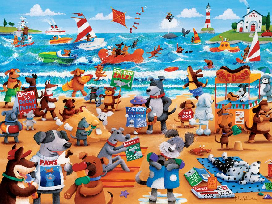 Dogs Beach (Paws & Claws) - Scratch and Dent Beach Jigsaw Puzzle