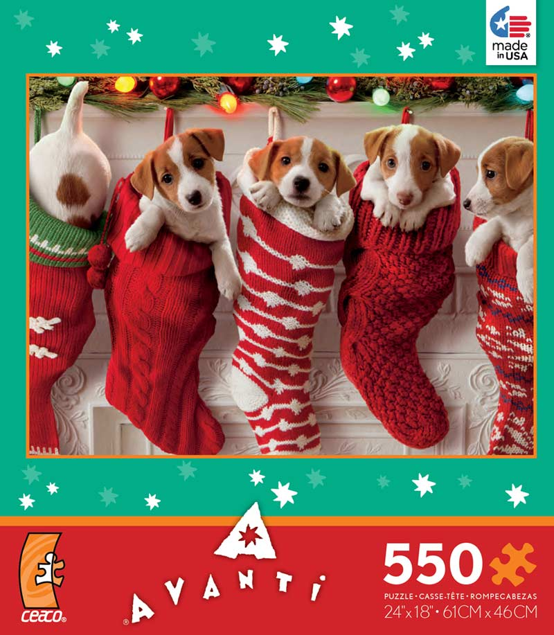 Holiday Avanti - Christmas Stocking Puppies Jigsaw Puzzle ...