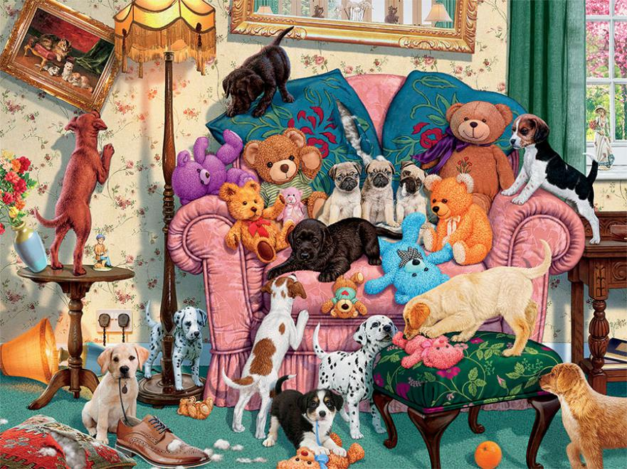 Grandma's Armchair - Scratch and Dent Dogs Jigsaw Puzzle