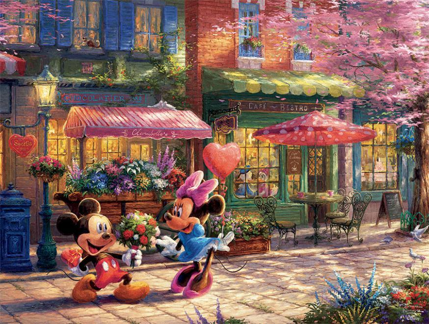 Mickey and Minnie Sweetheart Café, 750 Piece Thomas Kinkade Disney Dreams Disney Jigsaw Puzzle