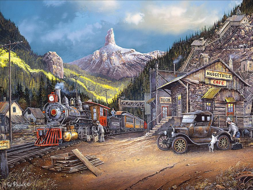 Nuggetville 1920 Trains Jigsaw Puzzle