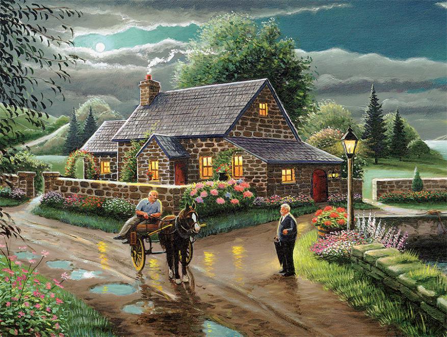 Lakeside Cottage Nostalgic / Retro Jigsaw Puzzle