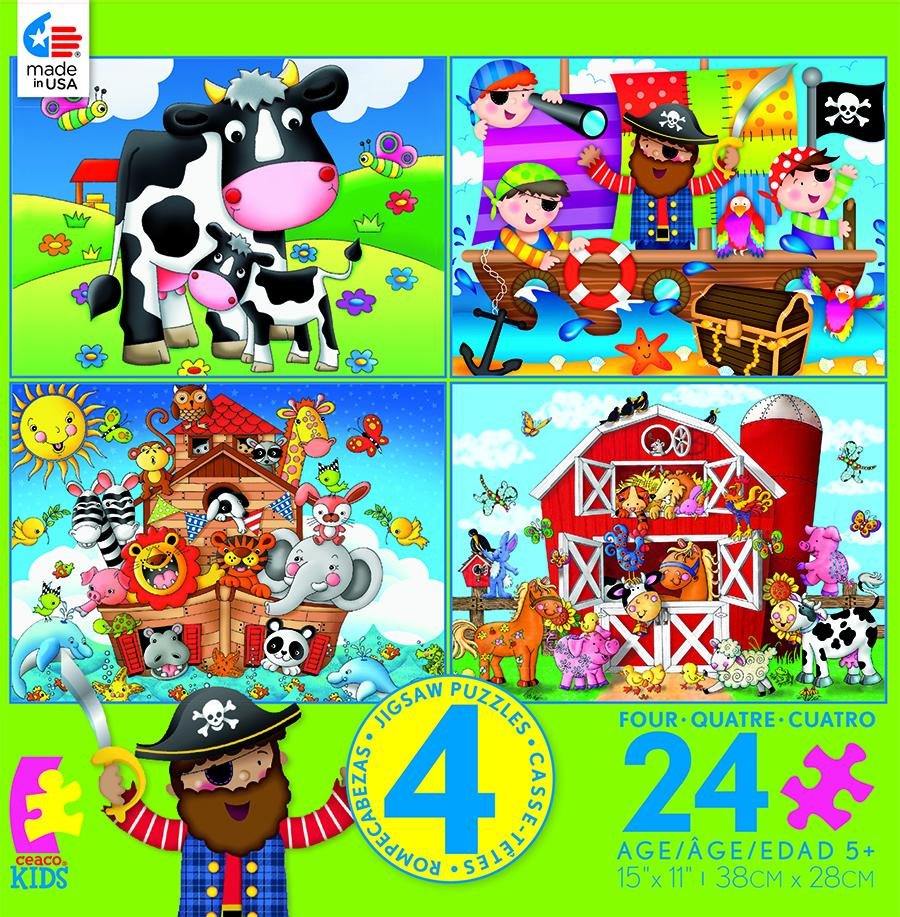4 in 1, 24 Piece Kids (Pirate) MultiPack Animals Jigsaw Puzzle