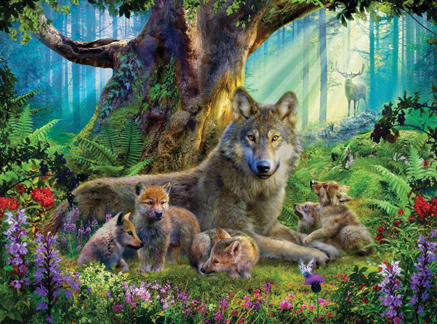 Wolf Family Toy : Wildlife mountain wolves jigsaw puzzle puzzlewarehouse