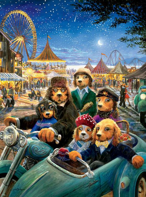 Night at the Carnival (Lonely Dog) - Scratch and Dent Dogs Jigsaw Puzzle