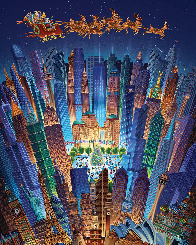 Christmas Around the World Skyline / Cityscape Jigsaw Puzzle