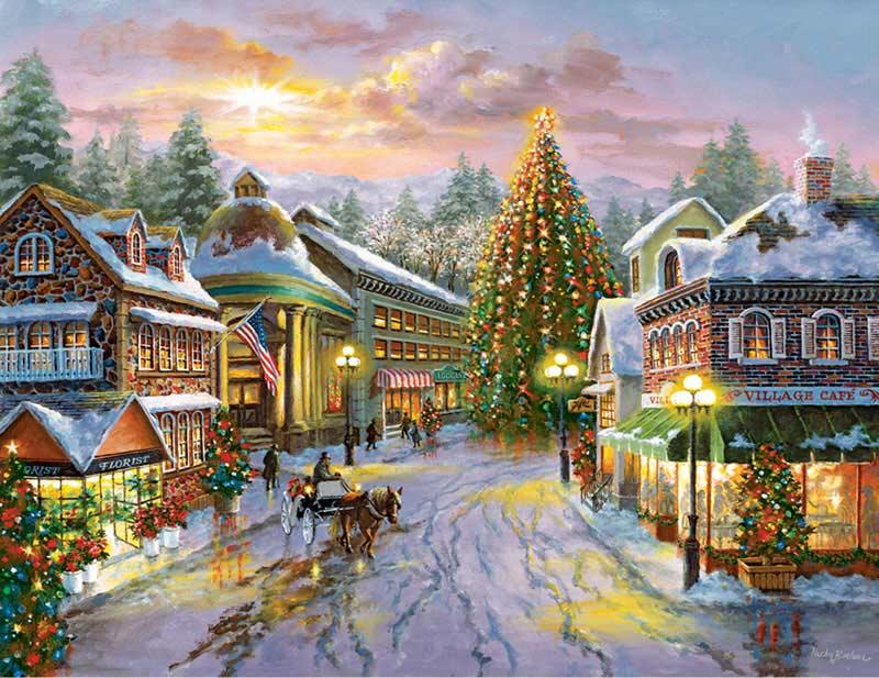 Christmas Eve Street Scene Jigsaw Puzzle