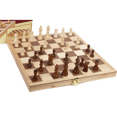 Deluxe Staunton Wood Chess and Checkers Set
