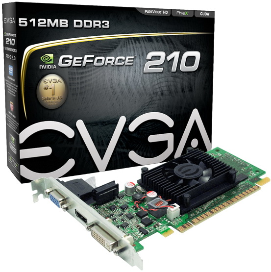 EVGA nVidia GeForce 210 512MB DDR3 VGA/DVI/HDMI PCI-Express Video Card