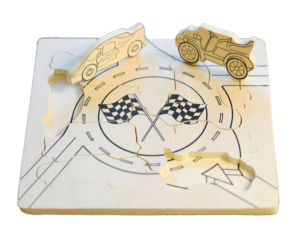 Flipzles Color Your Own Car Track Cars Tray Puzzle