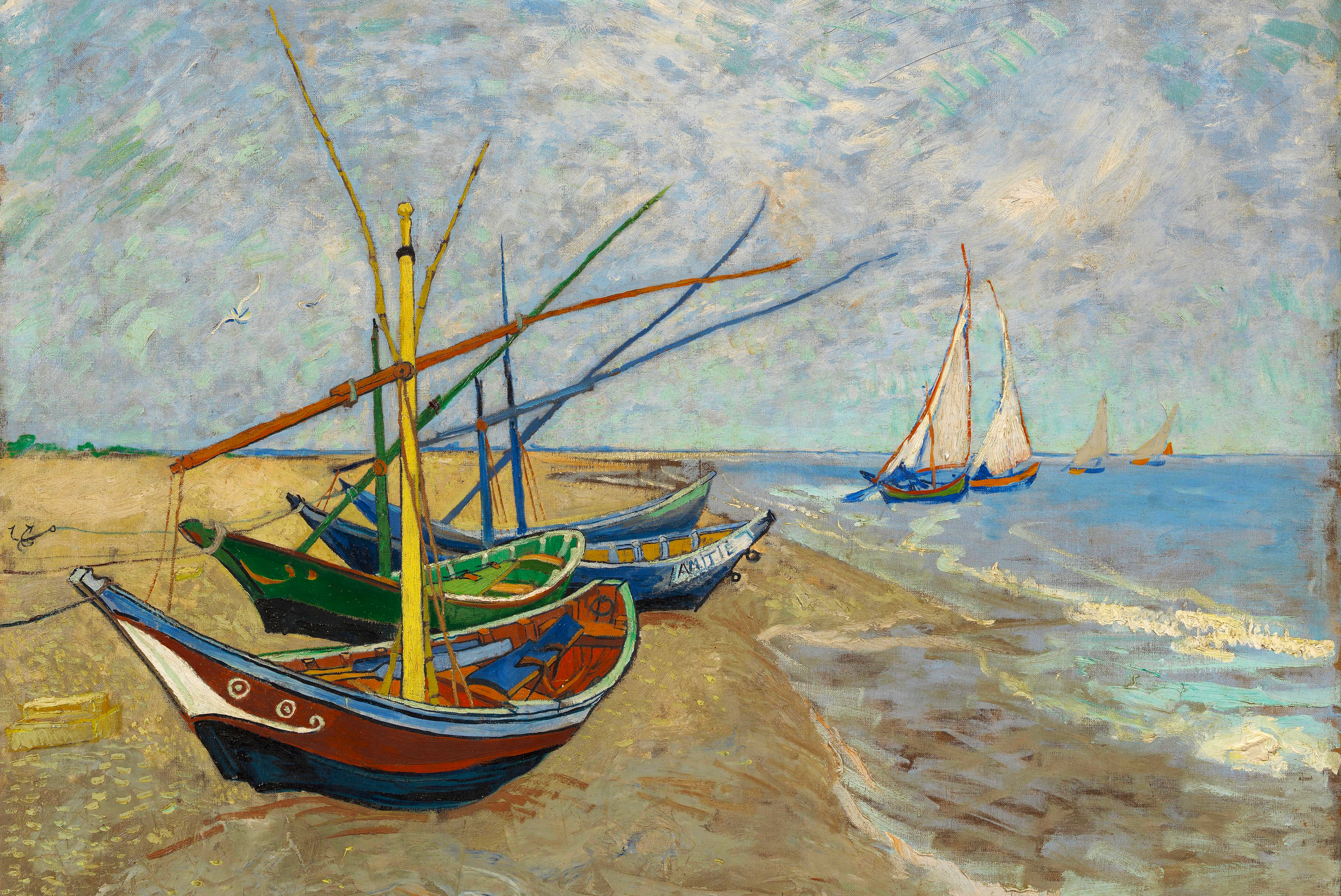 Fishing Boats on the Beach by Van Gogh Fine Art