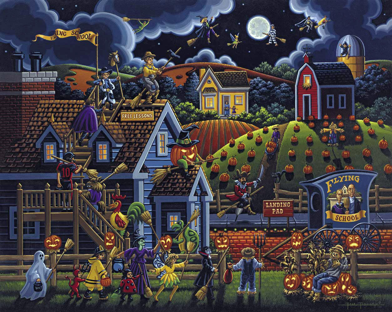 Flying School Halloween Jigsaw Puzzle