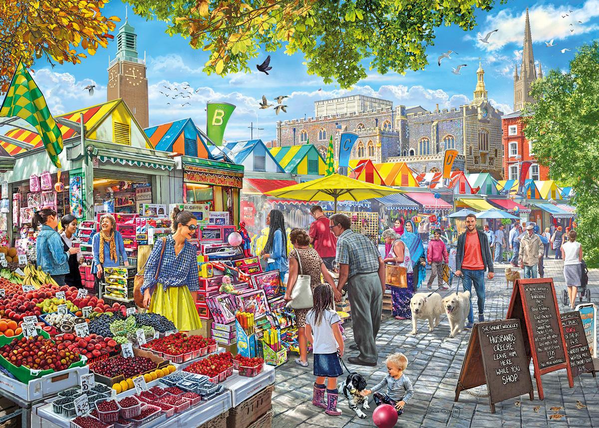 Market Day, Norwich Shopping Jigsaw Puzzle