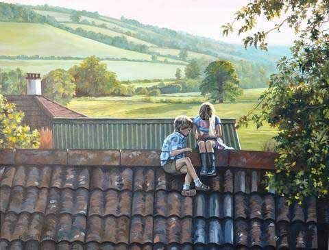 On The Roof Domestic Scene Jigsaw Puzzle