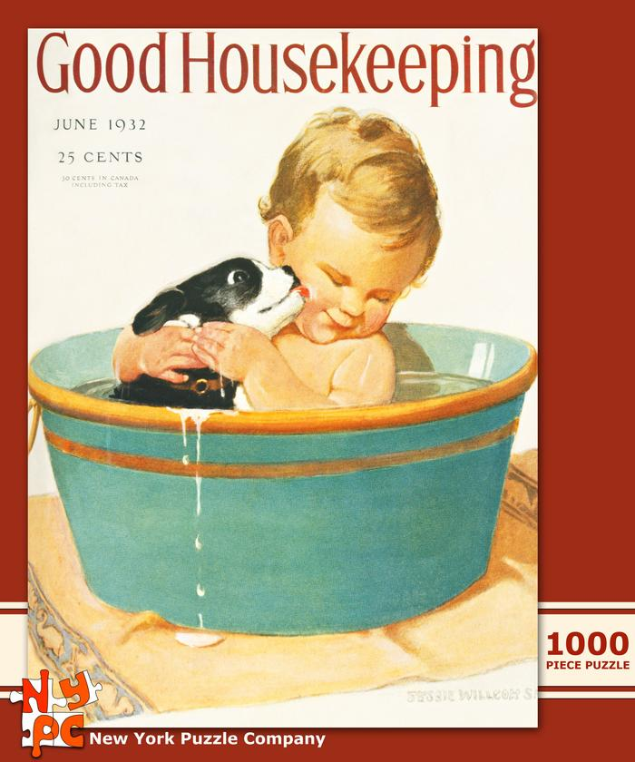 Good Housekeeping - Puppy's First Bath Magazines and Newspapers Jigsaw Puzzle