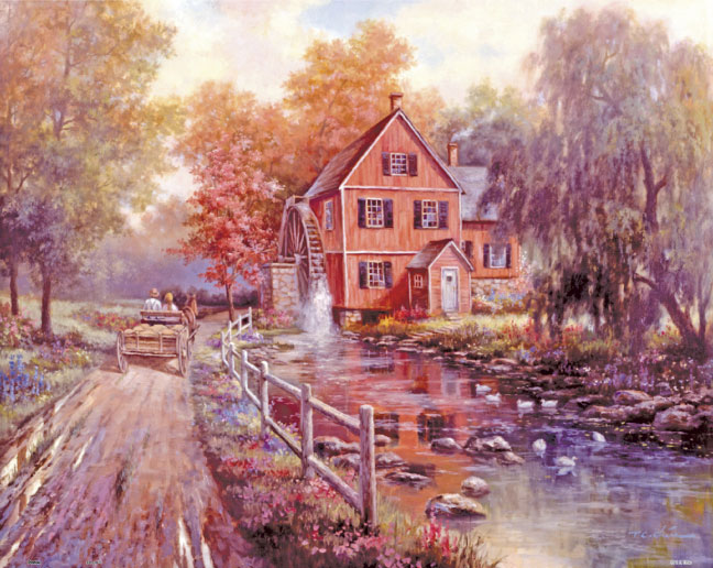 Contemporary Arts - The Old Red Mill Countryside Jigsaw Puzzle