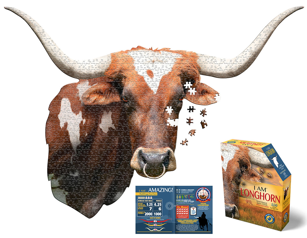 I Am Longhorn Wildlife Shaped Puzzle