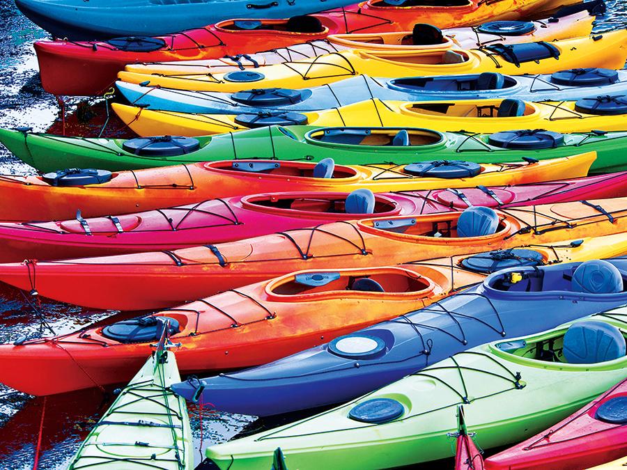 KODAK Premium Puzzles - Colorful Kayaks on the Lake Boats Jigsaw Puzzle