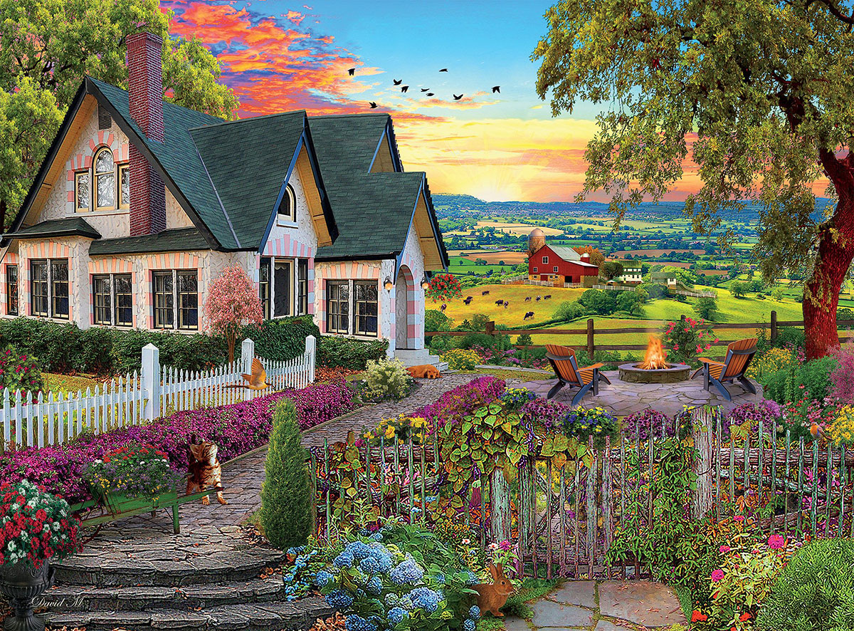 Hilltop View (1000 Piece David Maclean) Countryside Jigsaw Puzzle