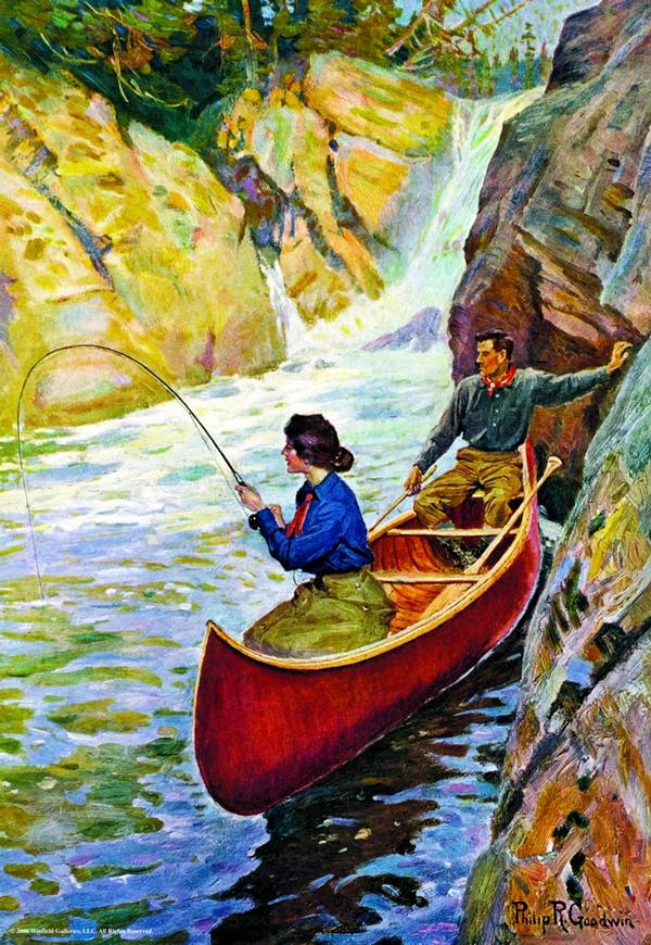 Man & Woman In Canoe - 1000 Piece Waterfalls Jigsaw Puzzle