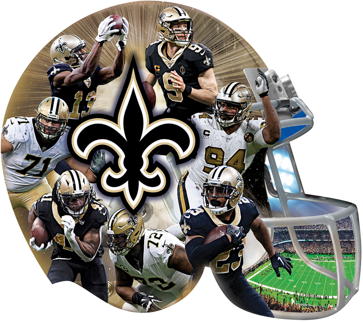 New Orleans Saints Football Shaped Puzzle