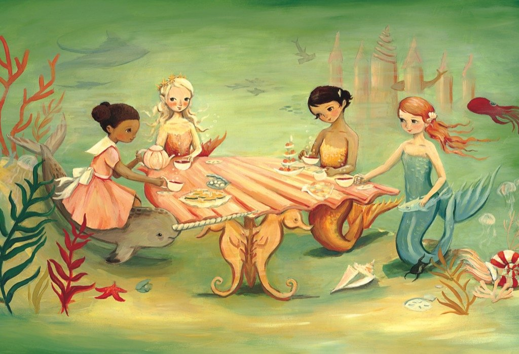 Mermaid Tea Party Magazines and Newspapers Jigsaw Puzzle