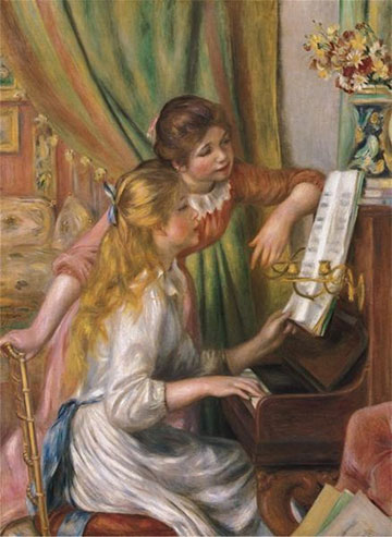 Girls at the Piano Domestic Scene Jigsaw Puzzle