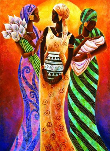 Sisters of the sun jigsaw puzzle - Figuras africanas de madera ...