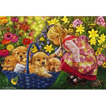 Basket Full of Love Dogs Jigsaw Puzzle