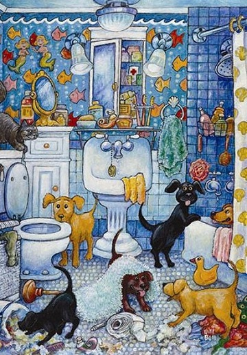 More Bathroom Pups Dogs Jigsaw Puzzle