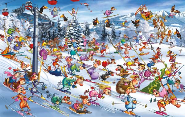 Christmas Skiing - Scratch and Dent Winter Jigsaw Puzzle