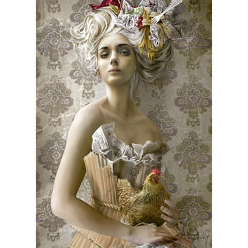 Lady With Chicken Jigsaw Puzzle Puzzlewarehouse Com