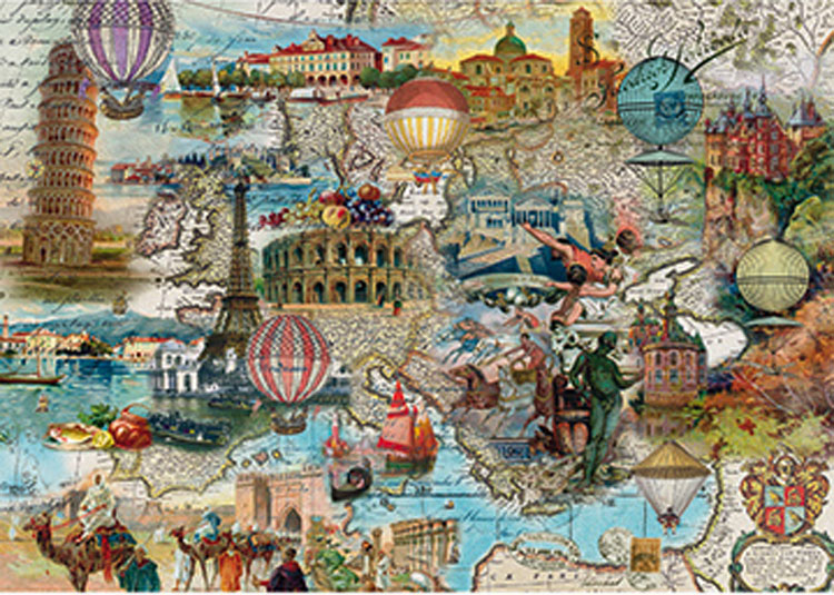 Hot-air Balloon Flight through Europe Landmarks / Monuments Jigsaw Puzzle