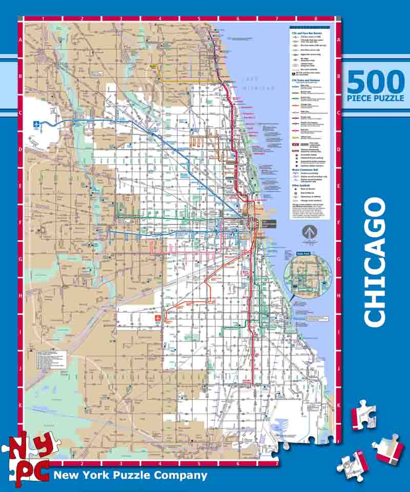 New York Subway Map Puzzle.Chicago Subway