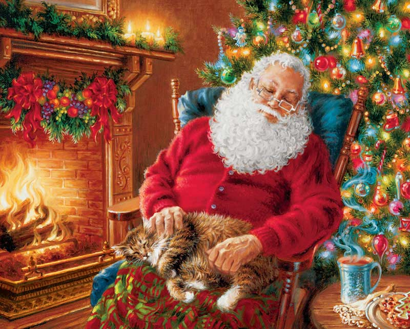 Santa's Cat Nap Cats Jigsaw Puzzle