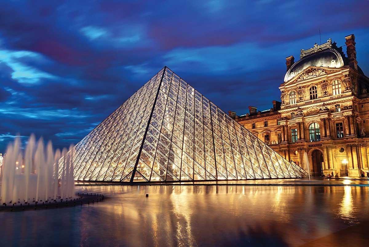 Louvre Pyramid, Paris, France Paris Glow in the Dark Puzzle