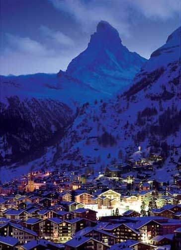 Night in Zermatt Mountains Jigsaw Puzzle
