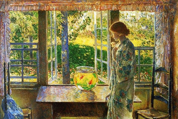 The Goldfish in the Window by Childe Hassam Fine Art