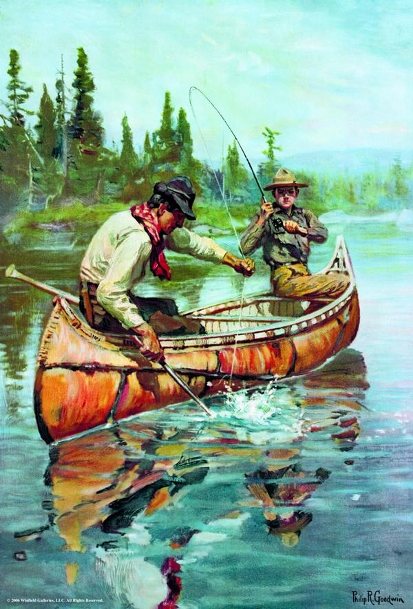 Two Fishermen In Canoe - 1000 Piece Fishing Jigsaw Puzzle