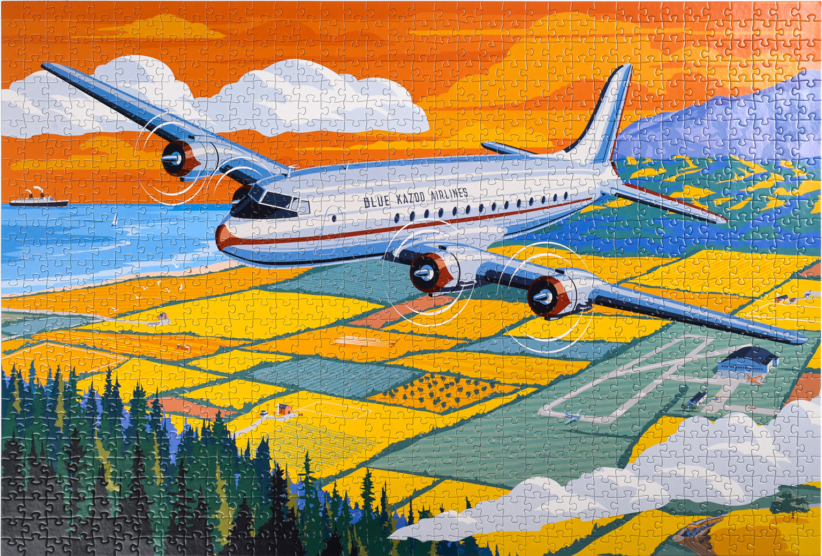 Across the Continent - A Vintage Travel Series Airplane Jigsaw Puzzle Planes Jigsaw Puzzle