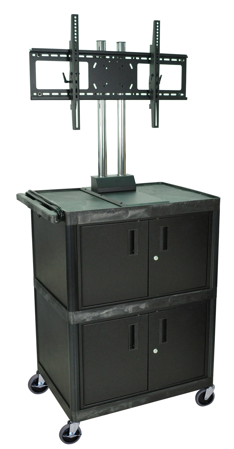 Superbe H Wilson Black 3 Shelf Mobile Cart W/ 2 Cabinets And Universal LCD TV Mount