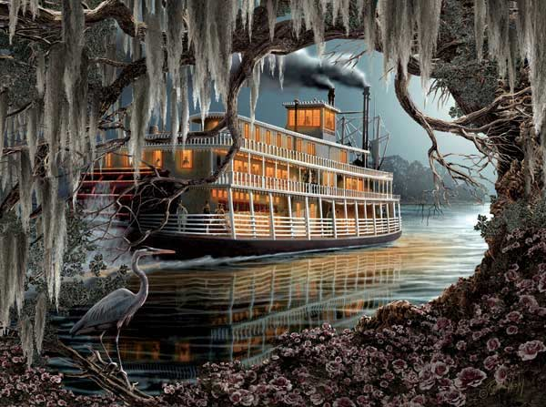 Night on the River - Scratch and Dent Boats Jigsaw Puzzle