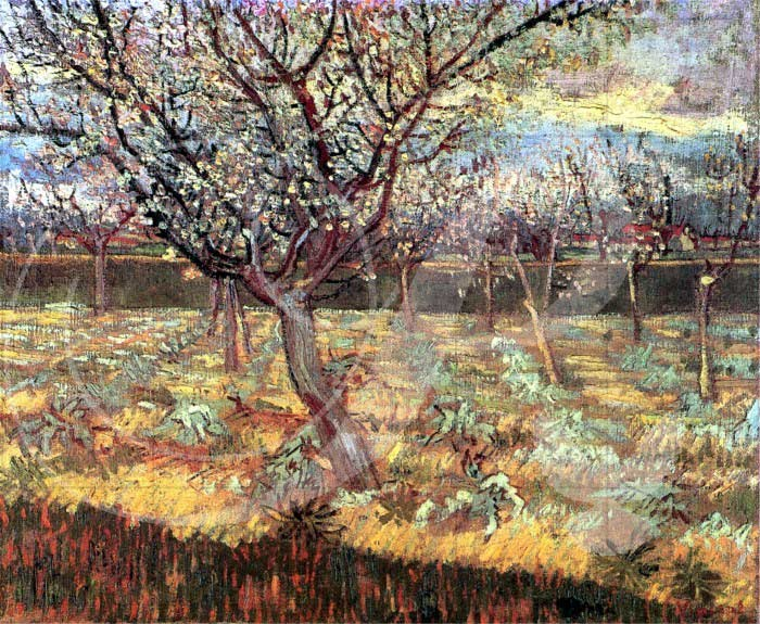 Apricot Trees in Blossom Impressionism Wooden Jigsaw Puzzle
