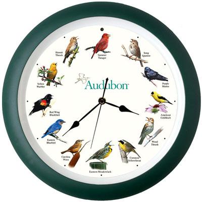 "Audubon Singing Bird Clock 8"" Birds Novelty"