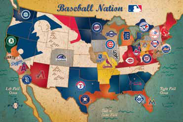 USA Team Map MLB Jigsaw Puzzle PuzzleWarehousecom - Mlb us map