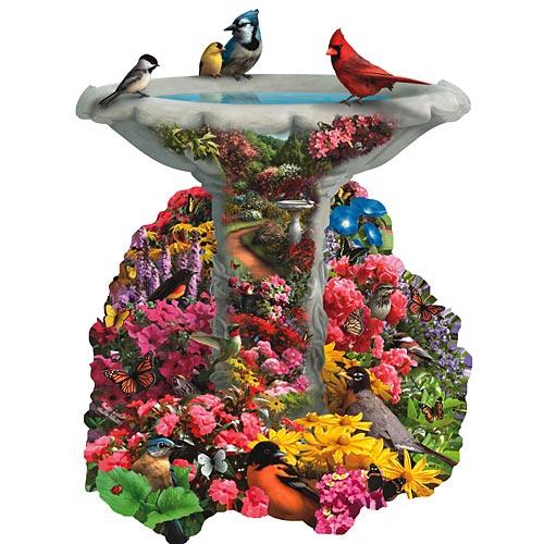 Birdbath Garden Birds Jigsaw Puzzle