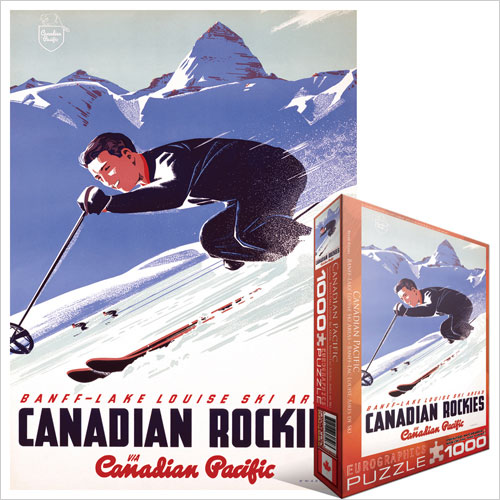 Banff and Lake Louise Ski Areas Nostalgic / Retro Jigsaw Puzzle