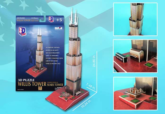 3D Puzzle - Sears Tower Landmarks 3D Puzzle