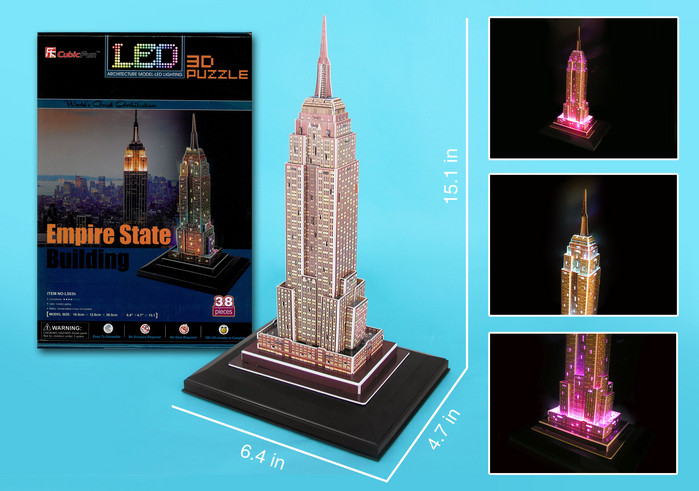 Empire State Building with LED lighting Landmarks / Monuments 3D Puzzle