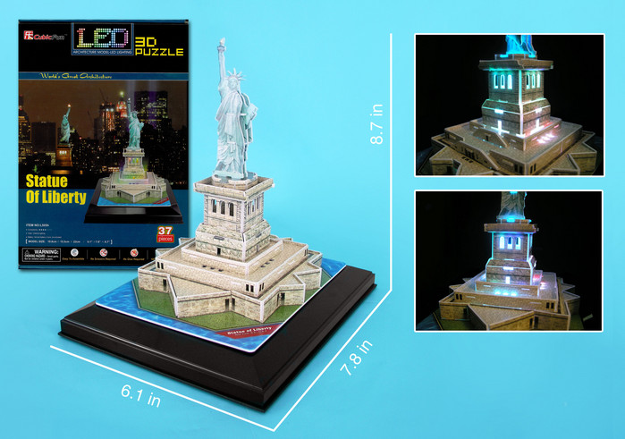 3D Puzzle - Statue of Liberty with LED lighting Landmarks 3D Puzzle